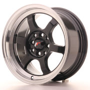 JR Wheels JR12 15x7,5 ET26 4x100/114 Gloss Black w/Machined Lip