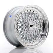JR Wheels JR9 15x7 ET20 4x100/108 Silver w/Machined Lip+Silver Rivets