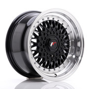 JR Wheels JR9 15x8 ET20 4x100/108 Gloss Black w/Machined Lip