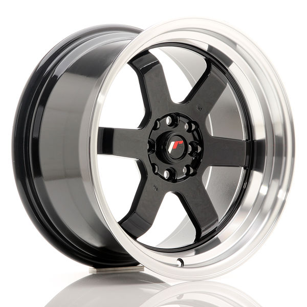 JR Wheels JR12 17x9 ET25 4x100/114 Gloss Black w/Machined Lip