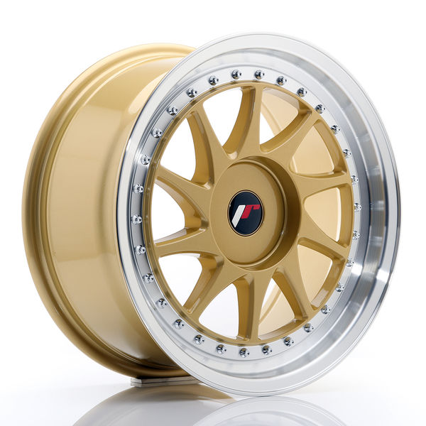 JR Wheels JR26 17x8 ET20-35 BLANK Gold w/Machined Lip