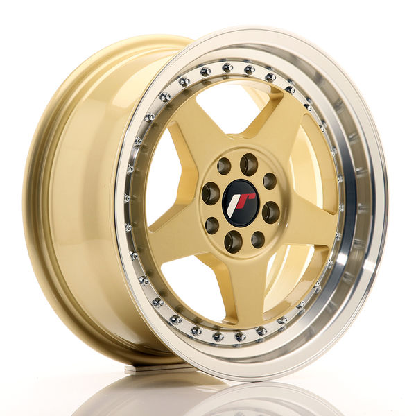 JR Wheels JR6 15x7 ET25 4x100/108 Gold w/Machined Lip