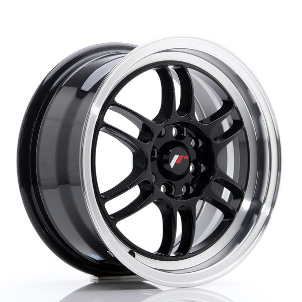 JR Wheels JR7 15x7 ET38 4x100/114 Gloss Black w/Machined Lip